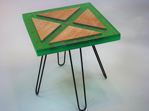 """Green Epoxy Money Maple Accent Table 19-3/4""""Lx19-3/4""""Wx21""""H"""