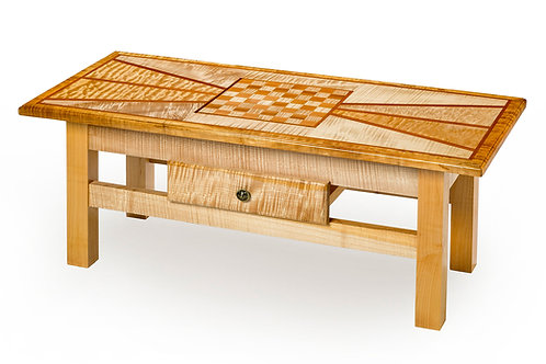"Angle Design Coffee Table w/Chess Board 48""L x 21-1/2""W x 19""H"