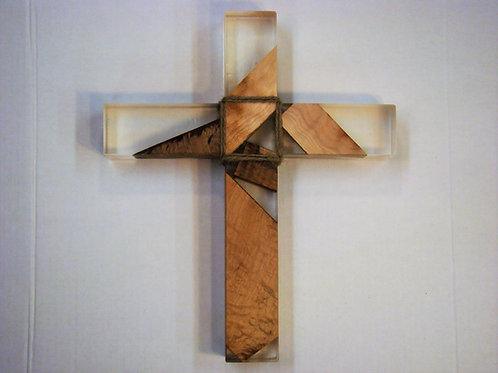 "Clear Epoxy & Wood Cross 13""H x 10-1/2""W x 1-3/4"" Thick"