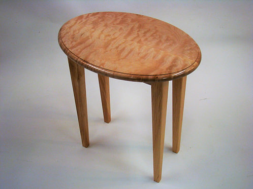 """Quilted Maple Single Oval End Table w/Wooden Legs  21-1/4""""Lx14-1/2""""Wx23""""H"""