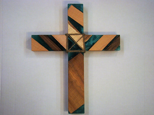 "Green Metallic Epoxy & Wood Cross 12""H x 9-1/2""W x 1"" Thick"