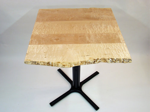 "Live Edge Figured-Maple Plank Pedestal Table 36""L x 36""W x 42""H"