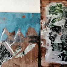 Díptico Cuerpos de agua/encausto y papel