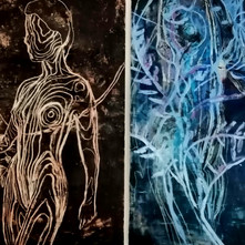 Díptico cuerpos de agua_ oleo y encausto
