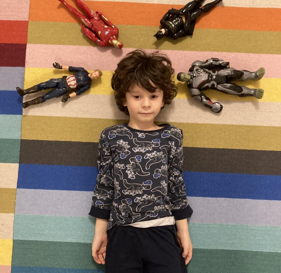 Inaxio showcasing his toys