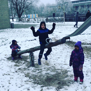 Early years playtime in snow
