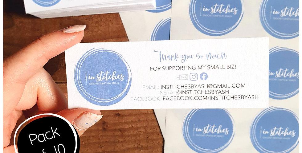 10pk Skinny Info Cards - White Matte