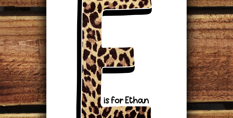 A4 Personalised Initial Print/ Leopard Print