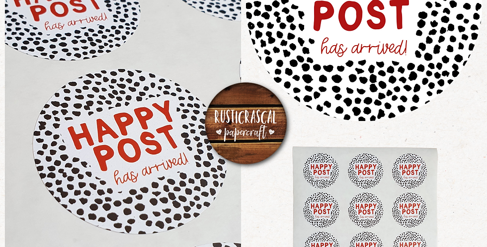 51mm Happy Post Stickers/ Recycled/Dalmatian