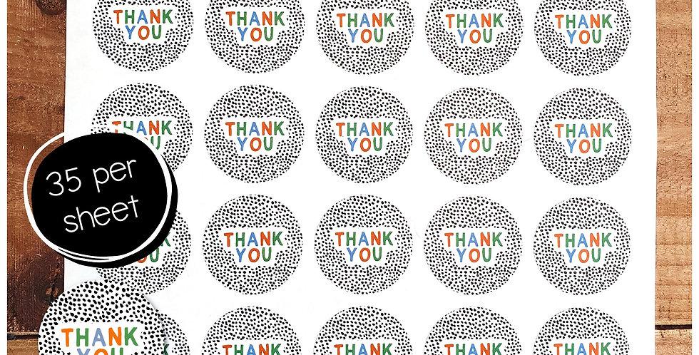Thank You Stickers - Dalmatian - Warm Rainbow - 35mm Circles