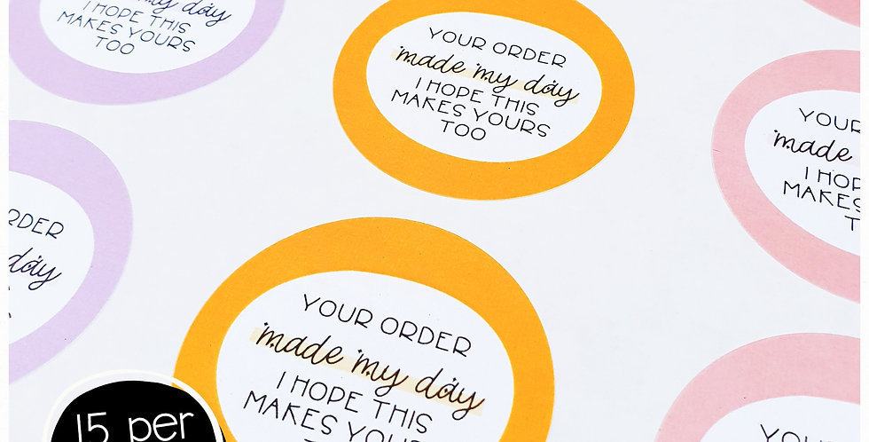 Made My Day Stickers - 51mm Circles - Multi Colour