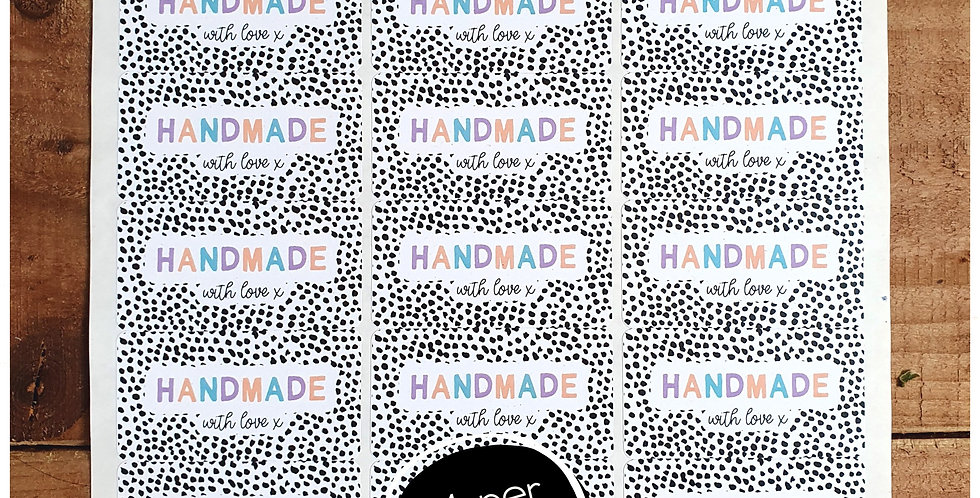 """Handmade"" Stickers - Dalmatian - Pastel - 64mm Rectangles"