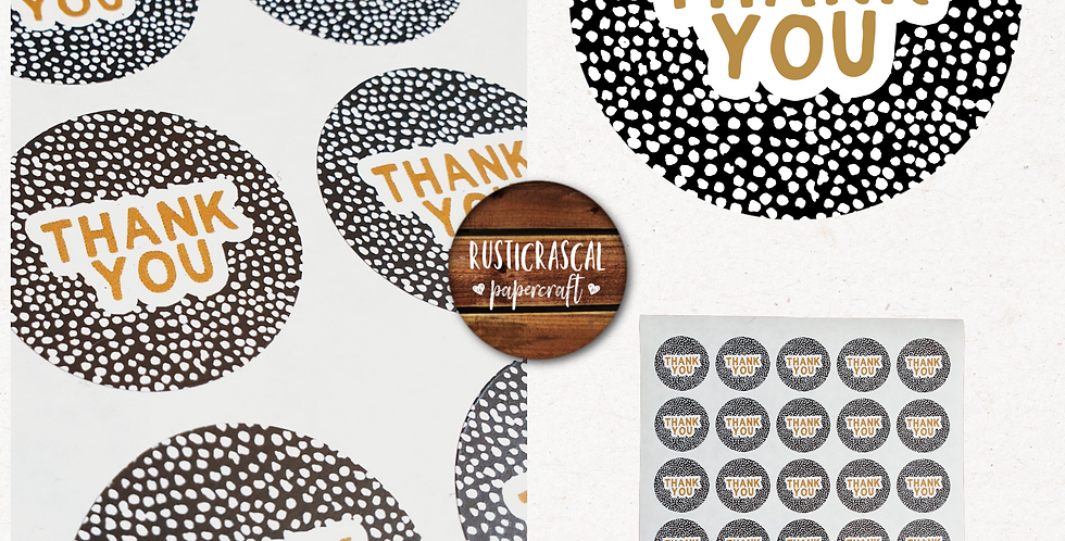 35mm Thank You Stickers/ Recycled/Dalmatian/ Black & Tan