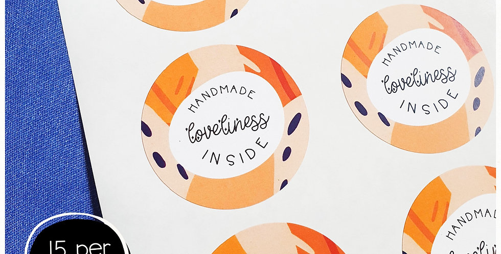 Handmade Loveliness Inside Stickers - 51mm Circles