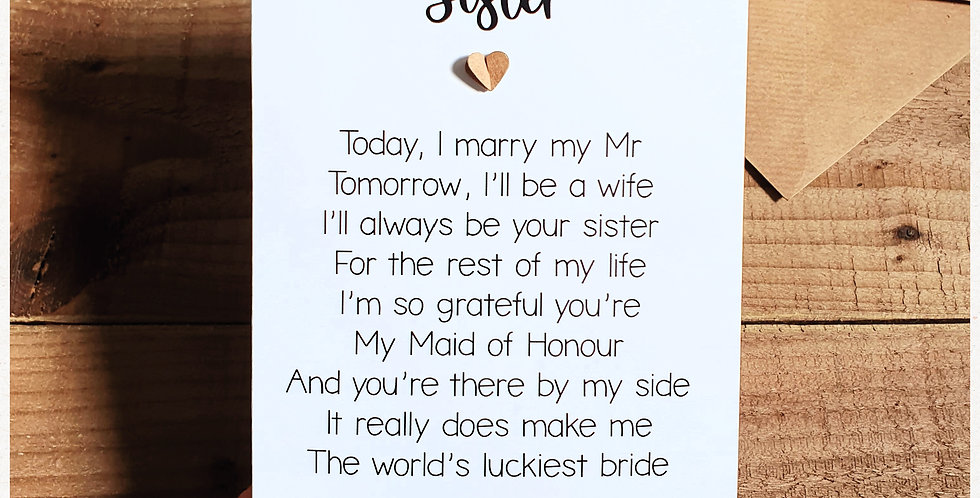 Sister Maid of Honour Wedding Card