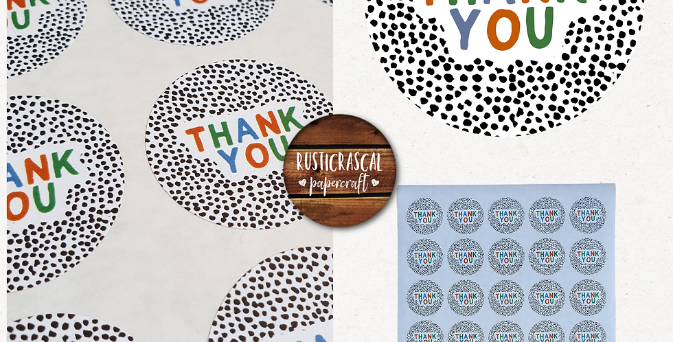 35mm Thank You Stickers/ Recycled/Dalmatian/ Warm