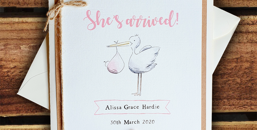 New Baby Girl Card/ Personalised