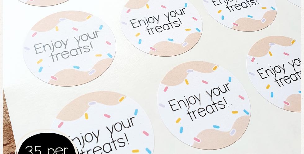 Enjoy Your Treats Stickers - 35mm circles