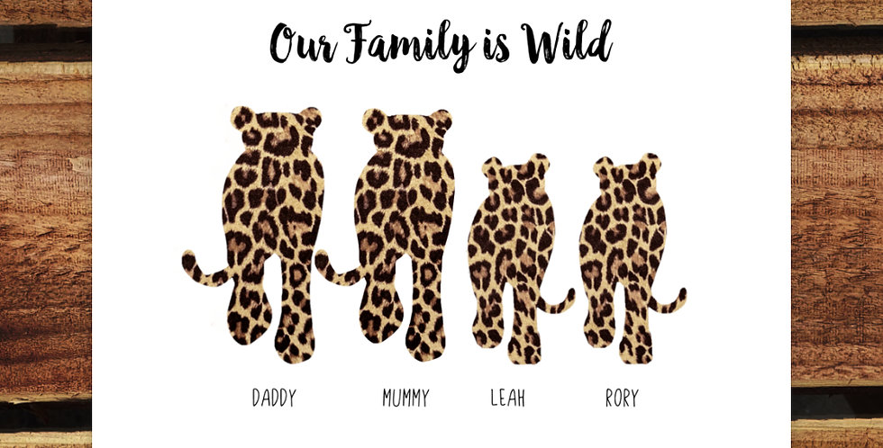 A4 Wild Family Print/ Personalised