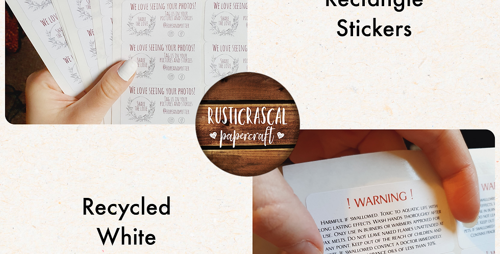 REPEAT ORDER Stickers 64mm Rectangle/ Recycled White