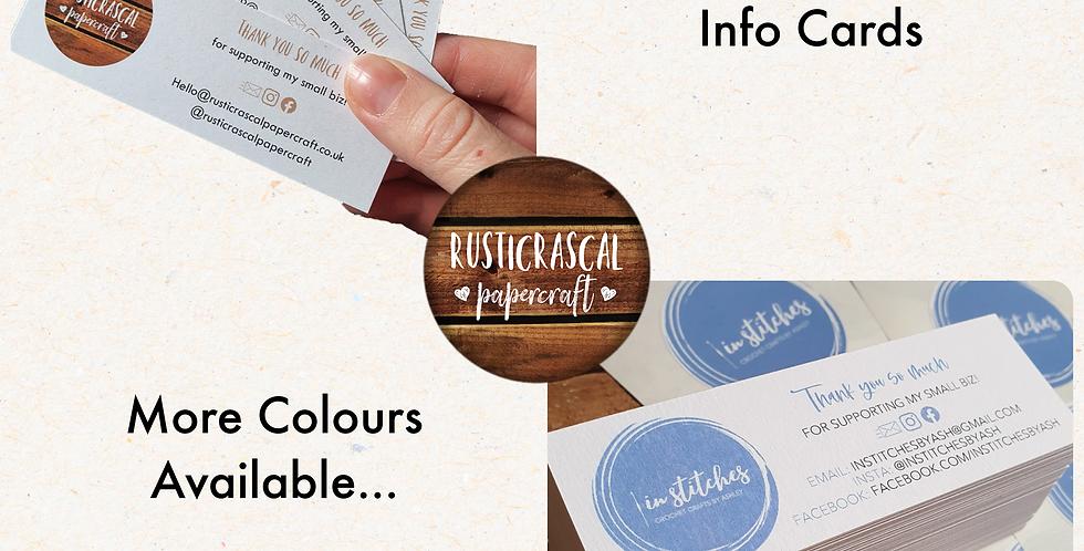 10pk Skinny Info Cards/ Customised