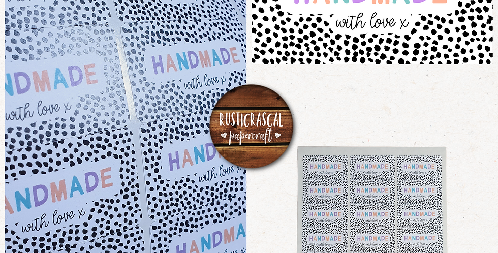 64mm Handmade Rectangle Stickers/ Recycled/Dalmatian/ Pastel