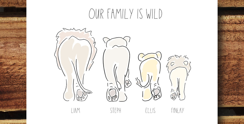 A4 Lion Family Print/ Personalised