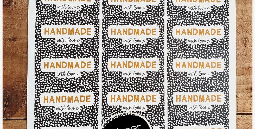 """Handmade"" Stickers - Dalmatian - Black & Tan - 64mm Rectangles"