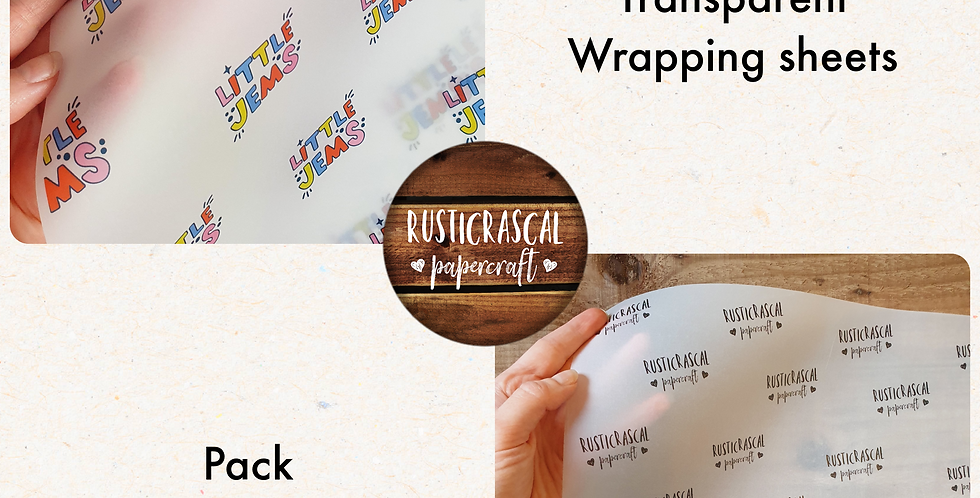 INITIAL ORDER 10pk/ A3  Logo Transparent Wrapping Sheets