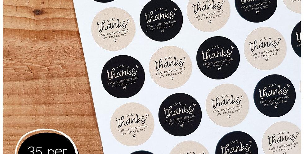 Thanks Small Biz Stickers - 35mm Circles -Kraft & Black