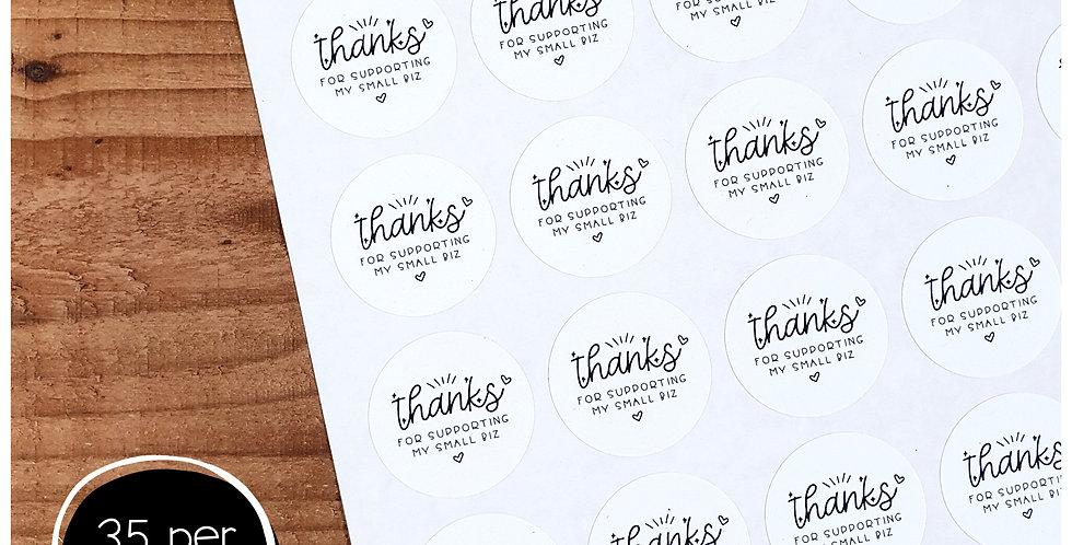 Thanks Small Biz Stickers - 35mm Circles - White