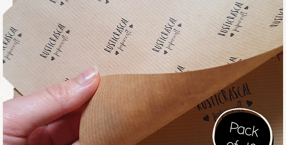 10pk - A4 Kraft Brown Logo Sheets