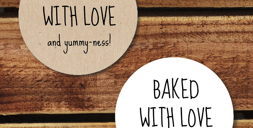 Baked with Love Stickers - 35mm Circles