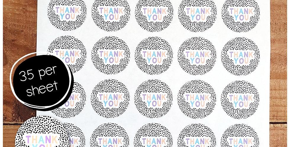 Thank You Stickers - Dalmatian - Pastel - 35mm Circles