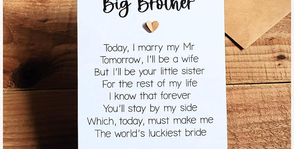 Big Brother Wedding Card