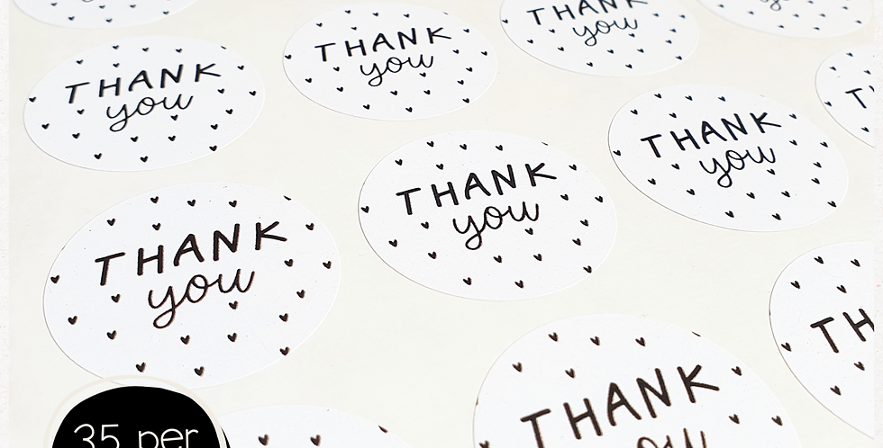 Thank You Stickers - 35mm Circles - Mini Hearts