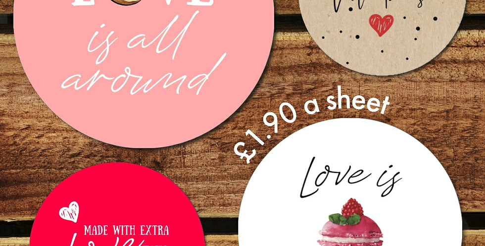 Valentines Sticker Sheet/ Recyled