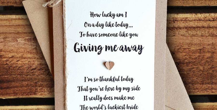 Giving Me Away Wedding Card