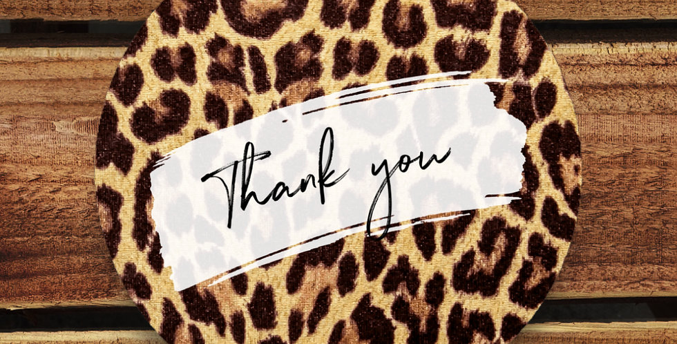 Recycled Stickers/ 35mm Leopard Thank You
