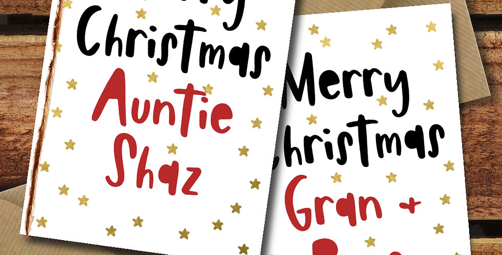 A6 Personalised Star Christmas Card/ Recycled