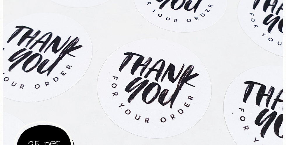 Thank You for your order Stickers - 35mm Circles - White