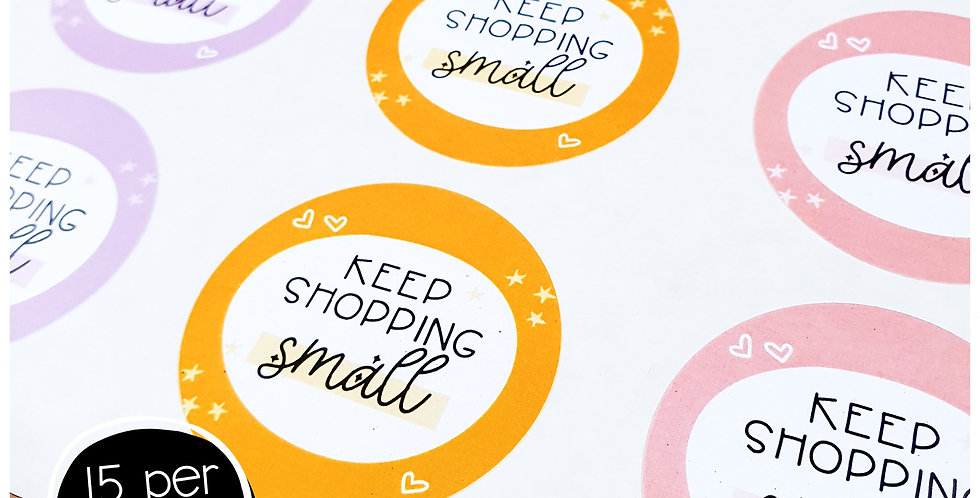 Keep Shopping Small Stickers - 51mm Circles - Multi Colour