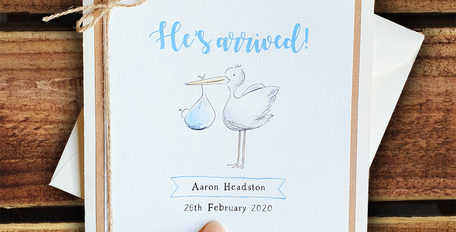 New Baby Boy Card/ Personalised