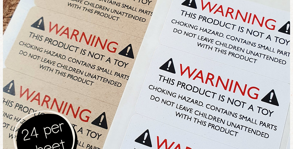 """""""Warning NOT A TOY"""" Stickers - 64mm Rectangles"""