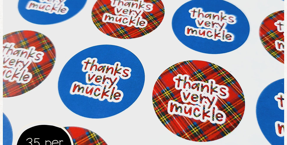 Tartan Thank You Stickers - 35mm Circles - Scottish
