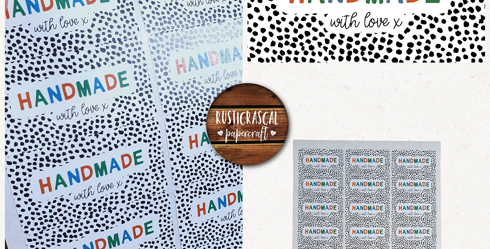 64mm Handmade Rectangle Stickers/ Recycled/Dalmatian/ Warm