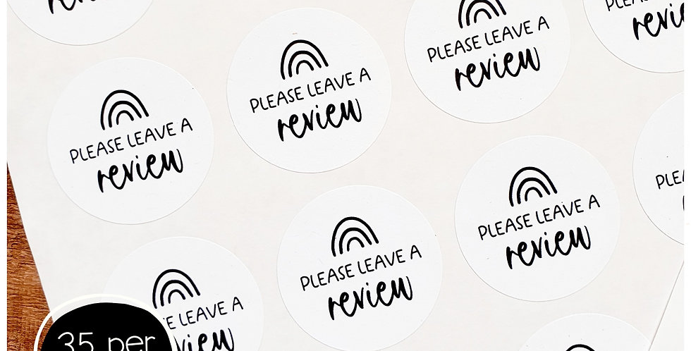 Review Stickers - 35mm Circles -White