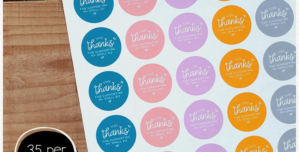 Thanks Small Biz Stickers - 35mm Circles -Multi Colour