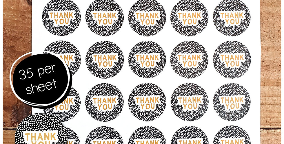 Thank You Stickers - Dalmatian - Black & Tan - 35mm Circles