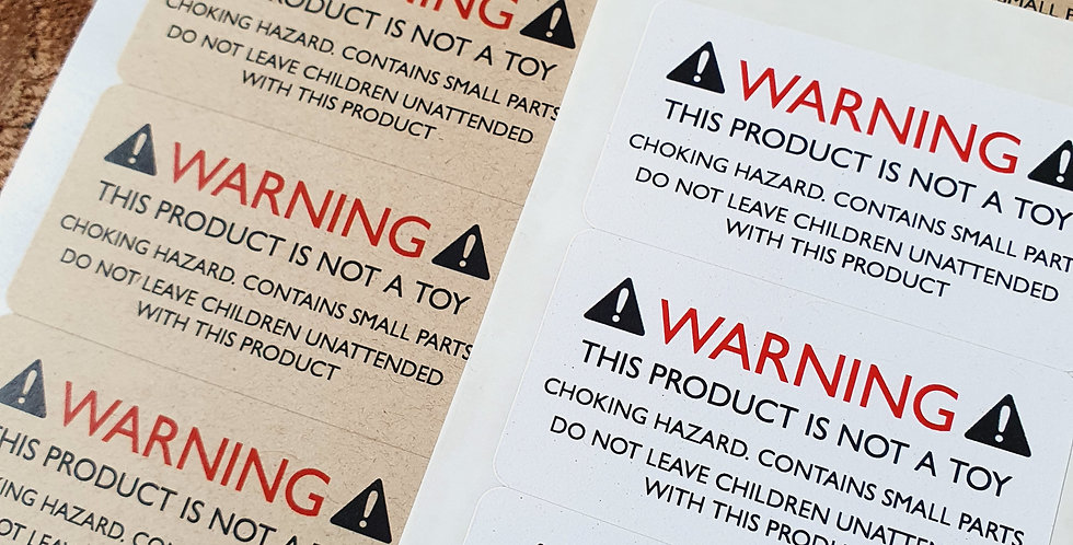 Recycled Warning NOT A TOY Stickers/ 64mm Rectangles